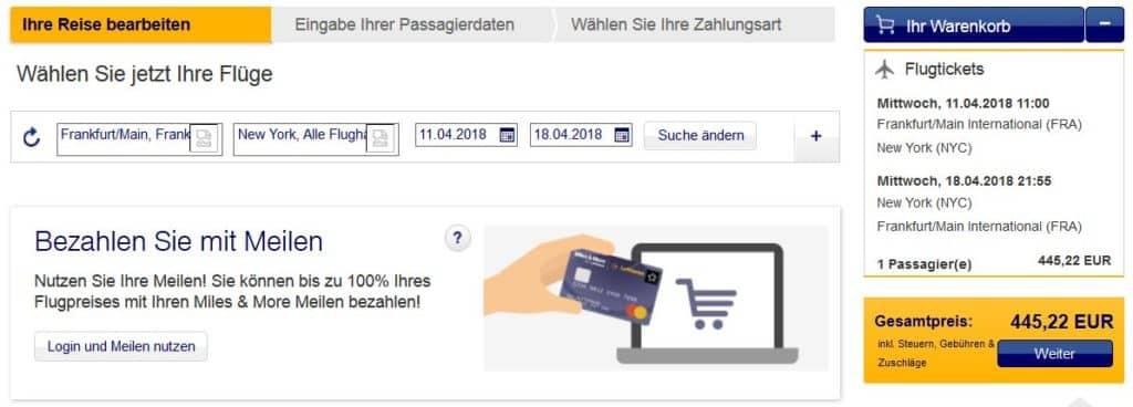 Preis für einen Lufthansa Flug von Frankfurt nach New York