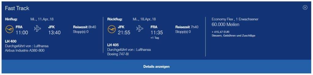 Preis für eine Miles & More Prämienticket mit Lufthansa von Frankfurt nach New York