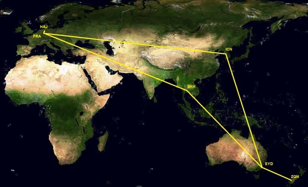 Beispiel für Miles & More 3 Regionen Flugprämie Karte