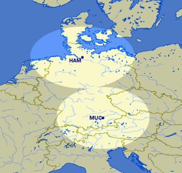 Great Circle Mapper Karte Hamburg und München