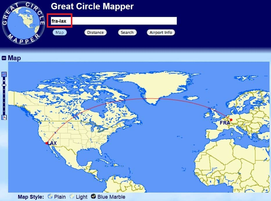 Great Circle Mapper Karte Frankfurt - Los Angeles