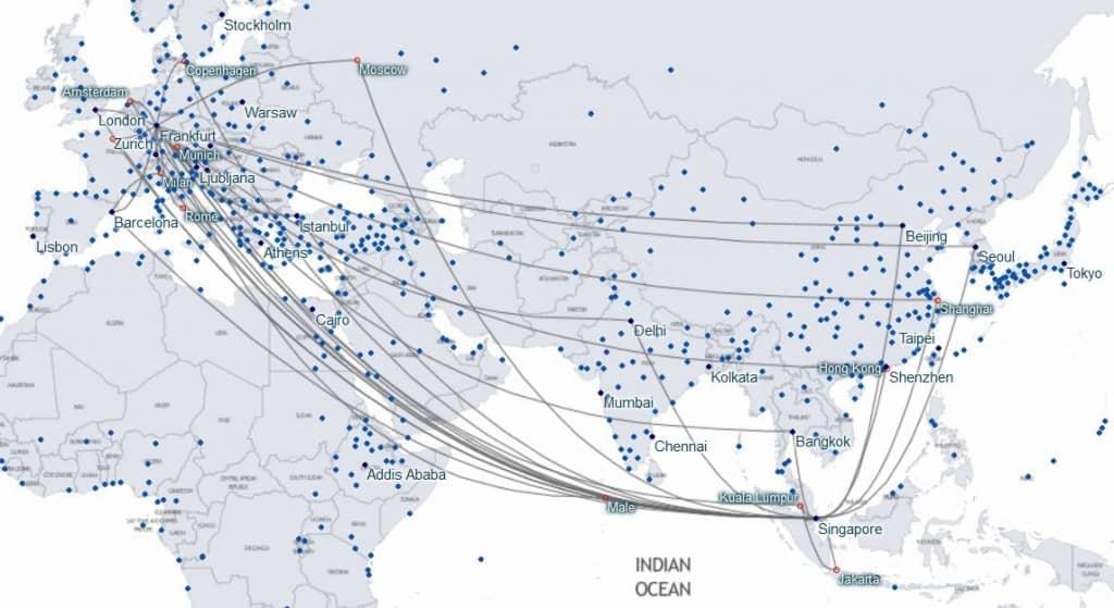 Karte_StarAlliance_Verbindungen_Frankfurt_Singapur