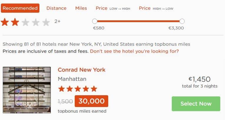30.000 topbonus Meilen für 3 Nächte im Conrad New York [Quelle: rocketmiles.com]