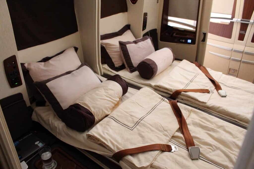 Doppelbett in der Singapore Airlines Suite an Bord des A380