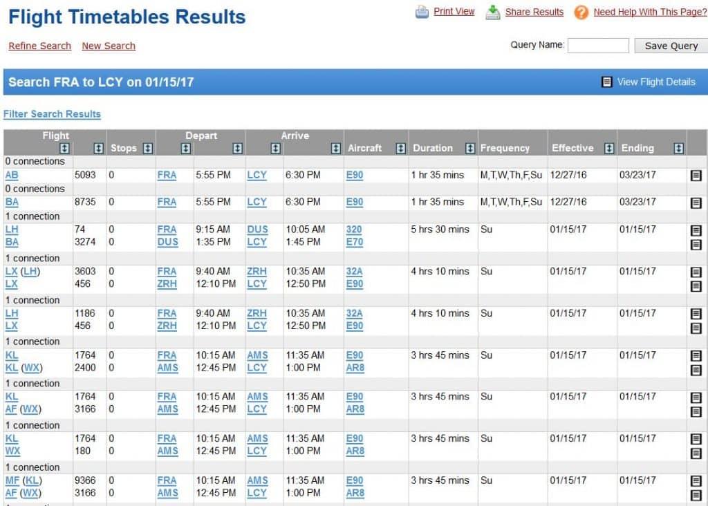 ExpertFlyer Timetables