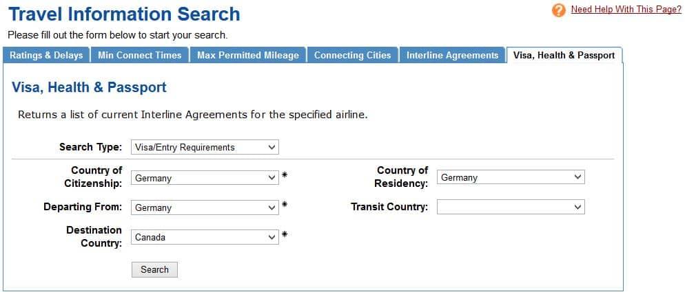 ExpertFlyer Visa Anforderungen für die Einreise nach Kanada