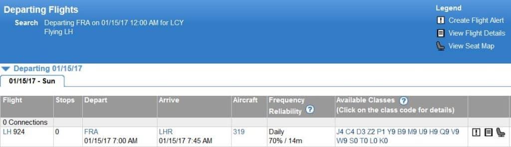ExpertFlyer Auslastung für einen Flug prüfen