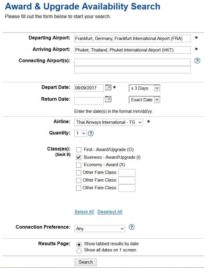 ExpertFlyer Suche nach Verfügbarkeiten für Prämienflüge