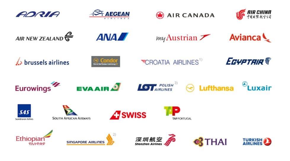 Logos der Miles & More Partnerairlines