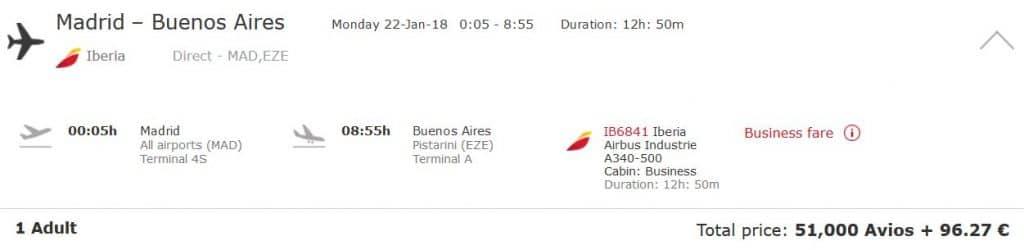Avios einlösen: Von Madrid nach Buenos Aires in der Iberia Business Class für nur 51.000 Avios