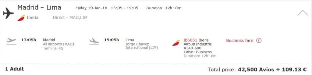 Avios einlösen: Von Madrid nach Lima in der Iberia Business Class für nur 42.500 Avios