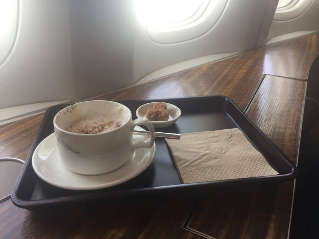Cathay Pacific First Class Cappucino