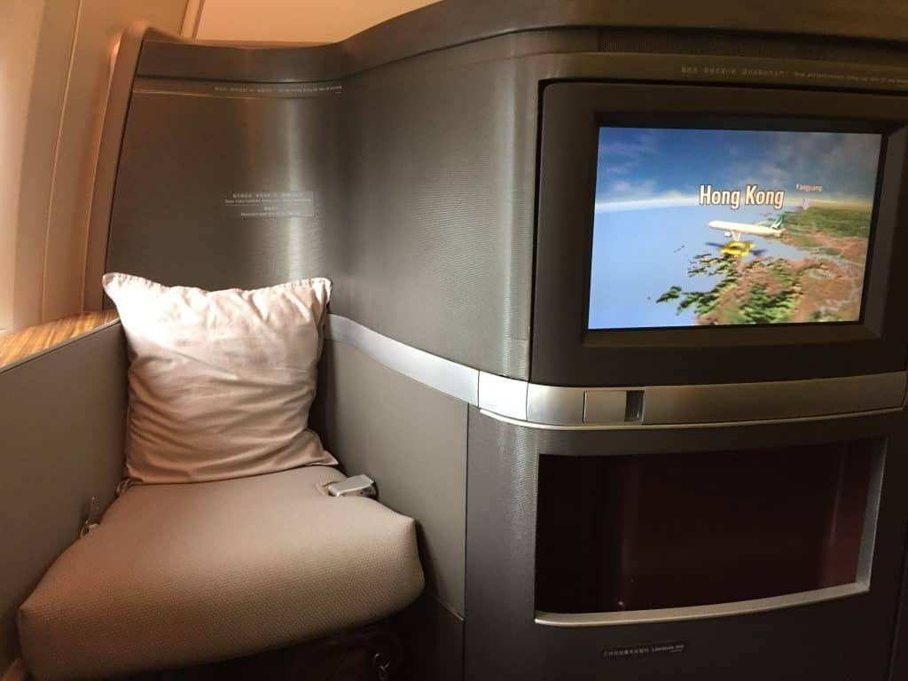 Cathay Pacific First Class Bildschirm