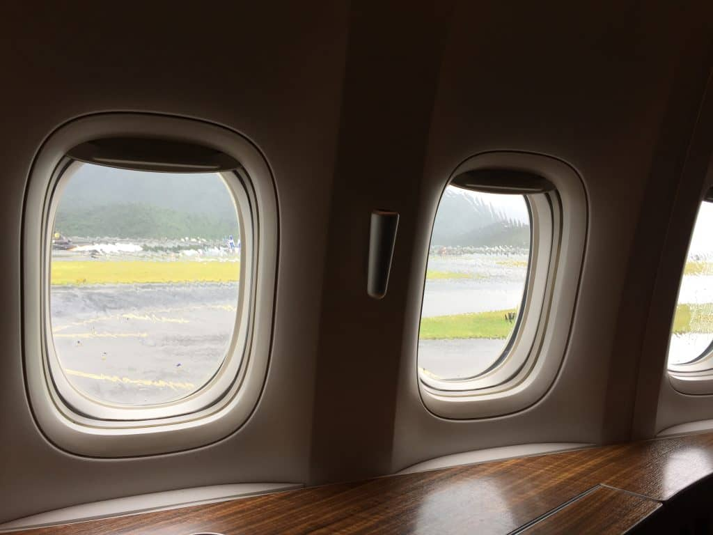 Cathay Pacific First Class Blick aus dem Fenster
