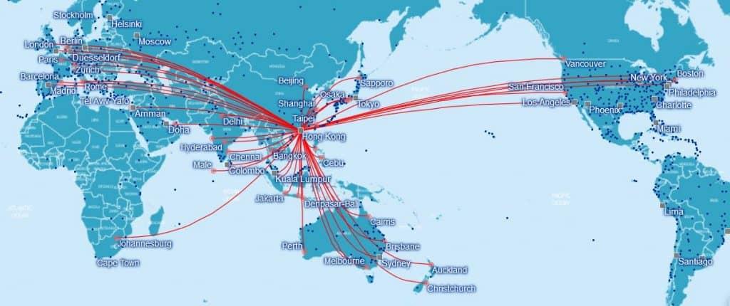 Karte Cathay Pacific Verbindungen ab Hongkong