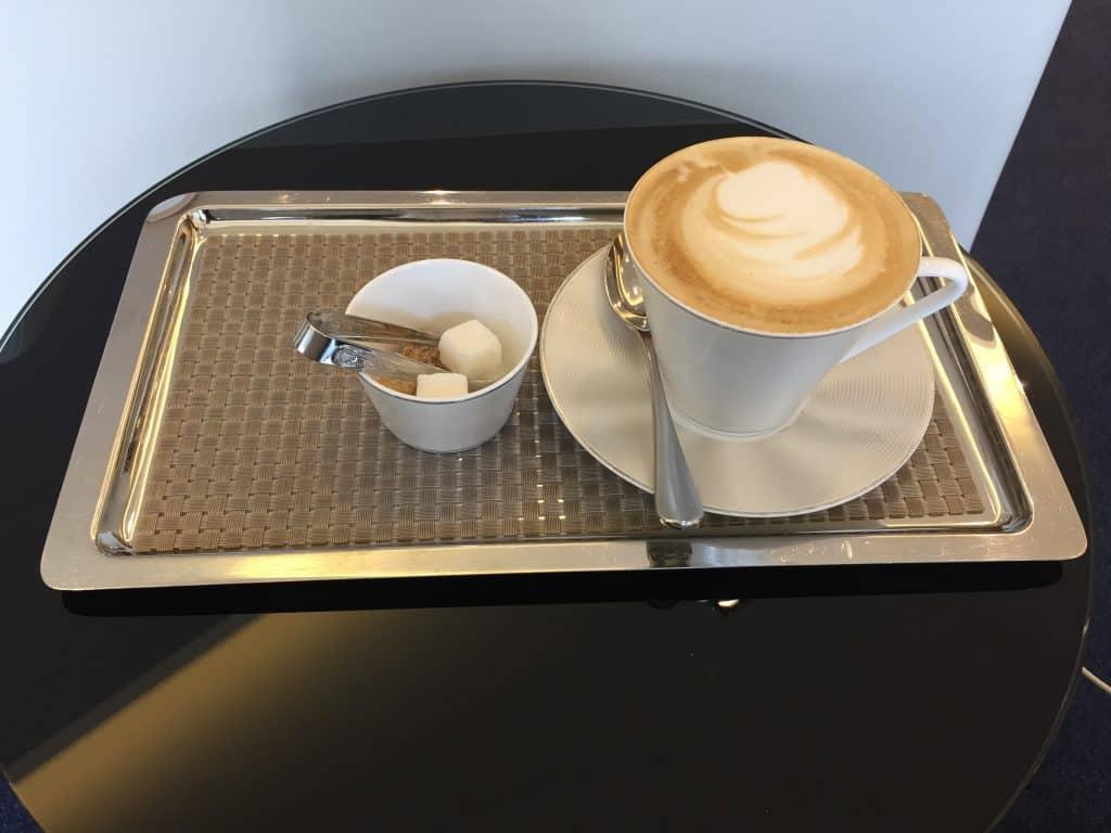 Etihad First Class Lounge Cappucino