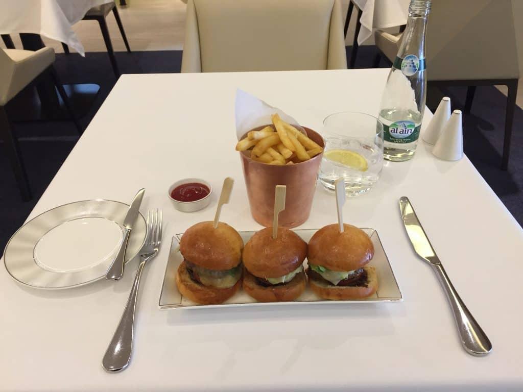 Etihad First Class Lounge A la Carte Restaurant Angus Beef Burger
