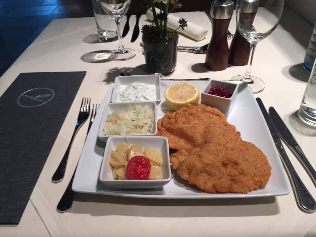Lufthansa First Class Terminal Restaurant Schnitzel