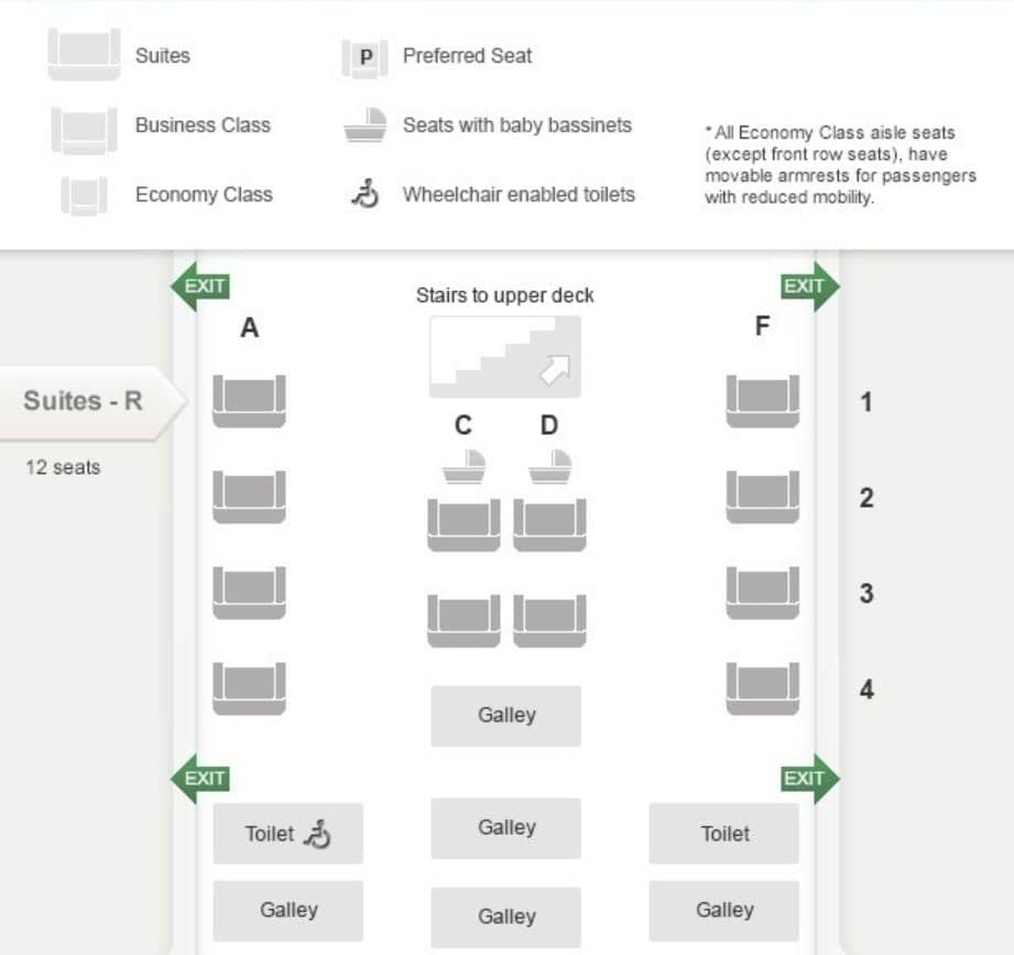 Seatmap für die Singapore Airlines Suiten an Bord des A380 © singaporeairlines.com