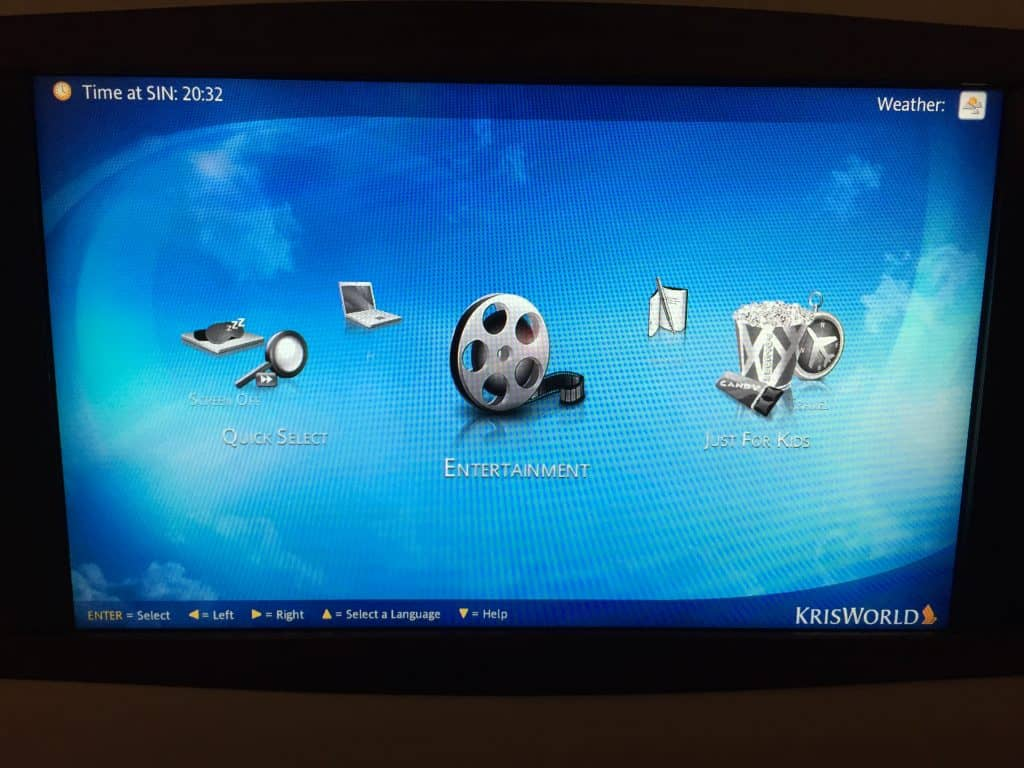 Singapore Airlines Entertainment System