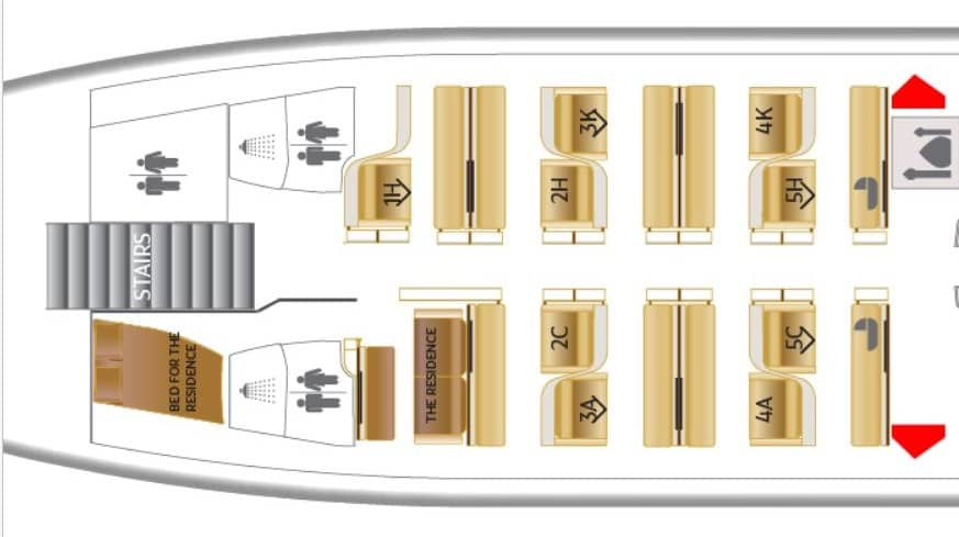 Etihad Sitzplan A380: First Class Apartments and Residence © etihad.com