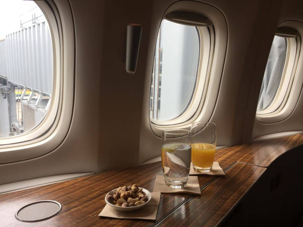 Cathay Pacific First Class Begrüßungsdrink