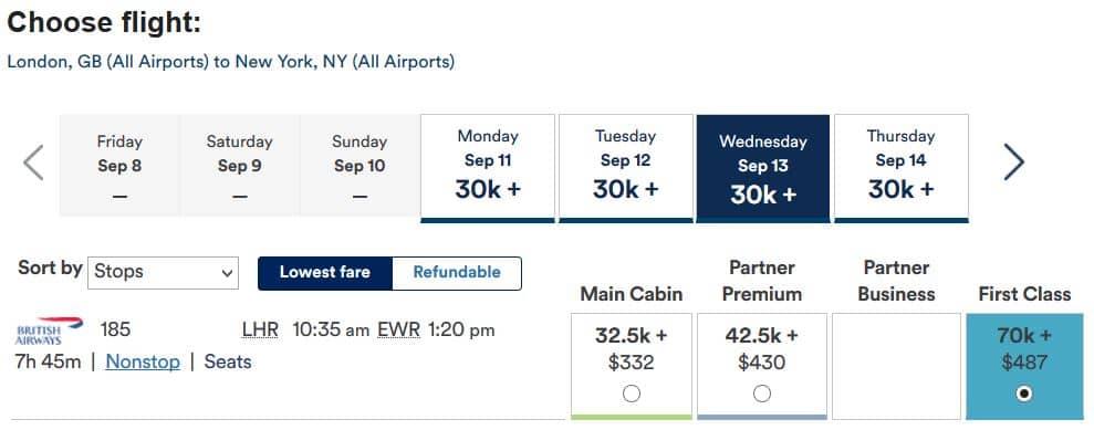 Alaska Airlines Mileage Plan Meilen einlösen: London nach New York