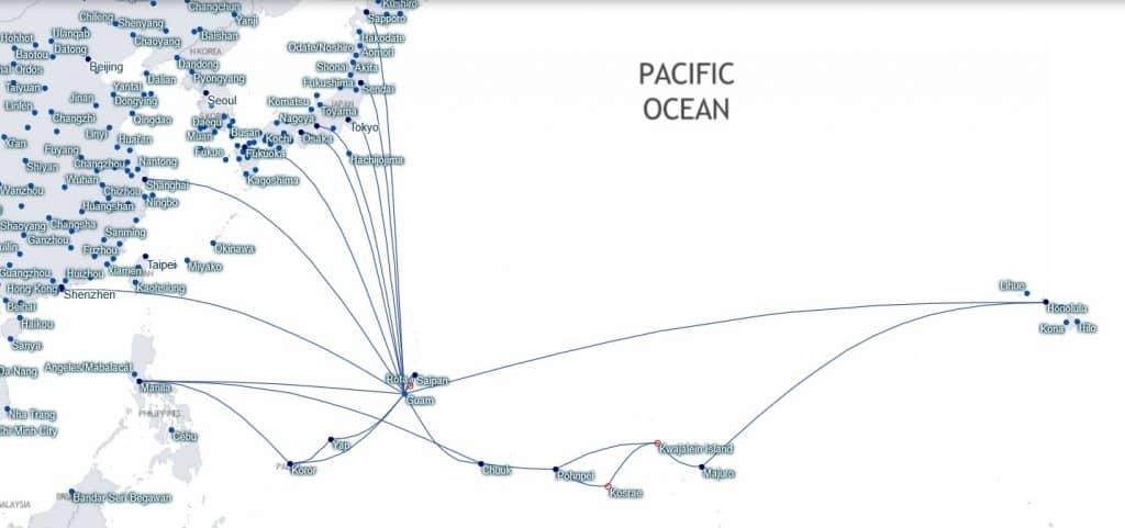 United Verbindungen ab Guam © starmap.fltmaps.com