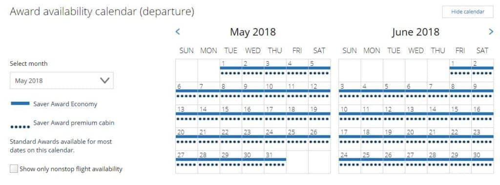 Kalender Übersicht der Mileage Plus Prämienflug-Suche für einen Flug von Frankfurt nach Bangkok © united.com