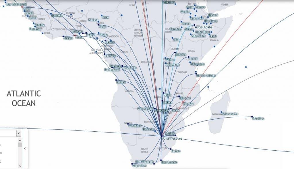 Karte: South African Verbindungen ab Johannesburg © starmap.fltmaps.com