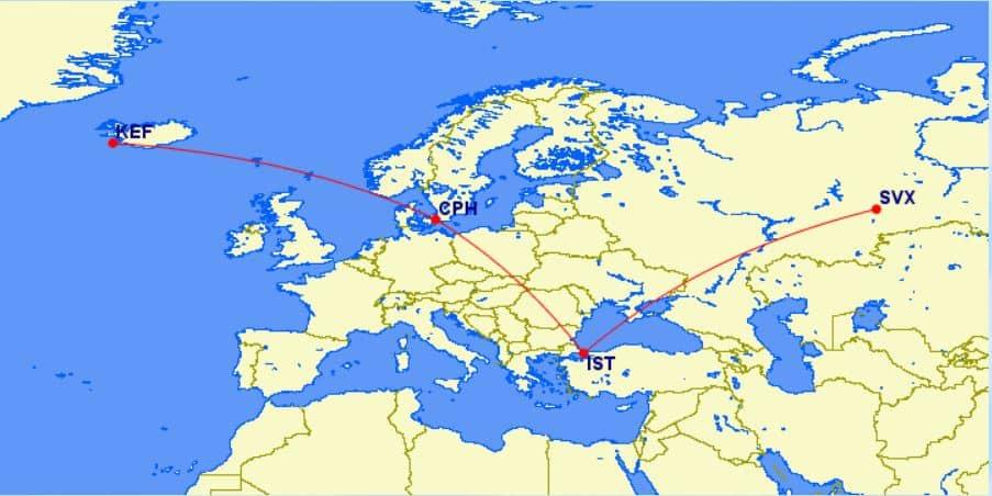 Karte Flug von Island bis nach Jekaterinburg