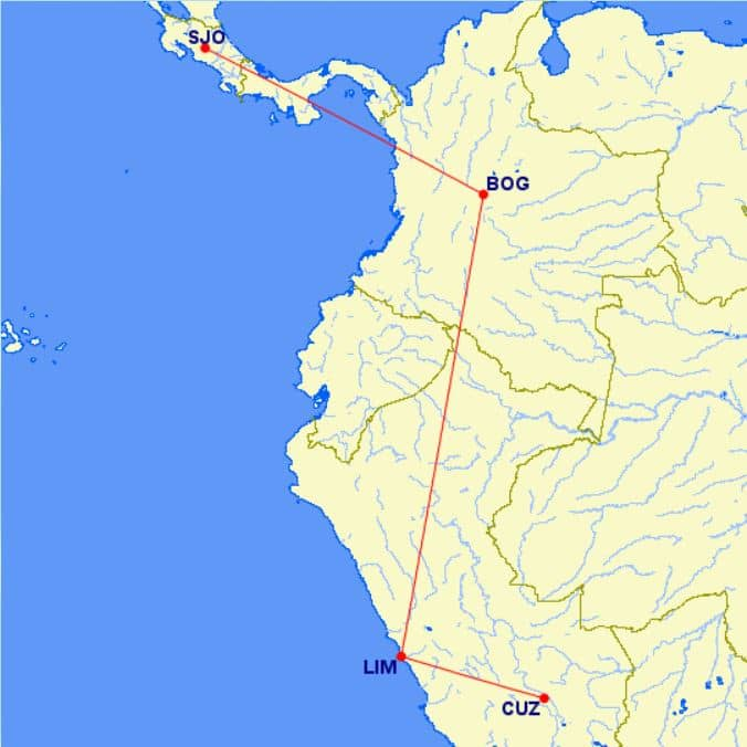 Karte Flug von San Jose nach Cusco