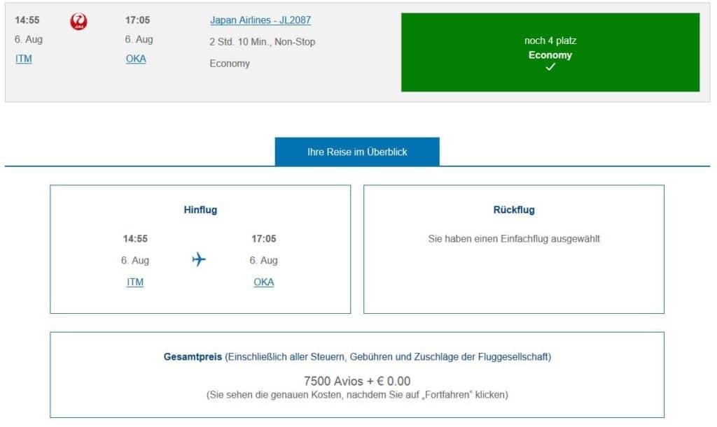 Avios für Prämienflug mit Japan Airlines einlösen