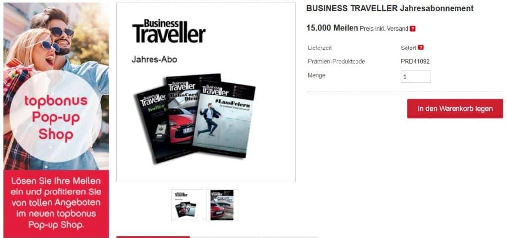 Ein Business Traveller Jahresabo erhält man im topbonus Pop-up Shop für 15.000 Meilen
