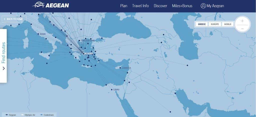 Aegean Verbindungen ab Athen © Aegean