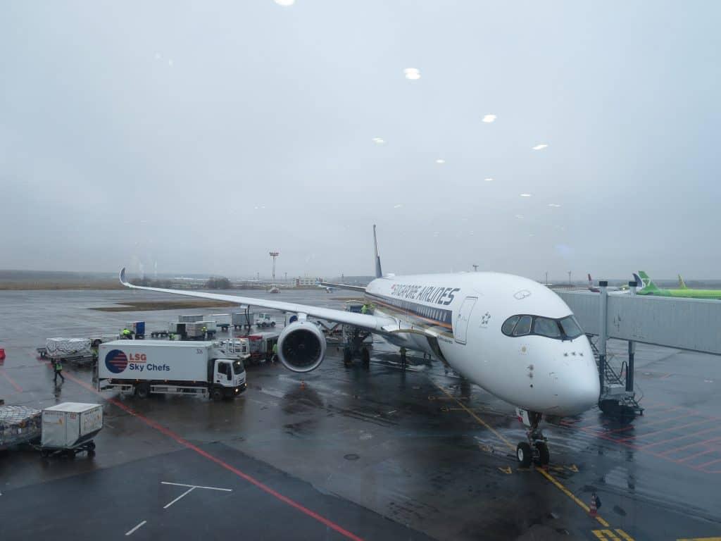 Singapore Airlines A350 am Flughafen Moskau