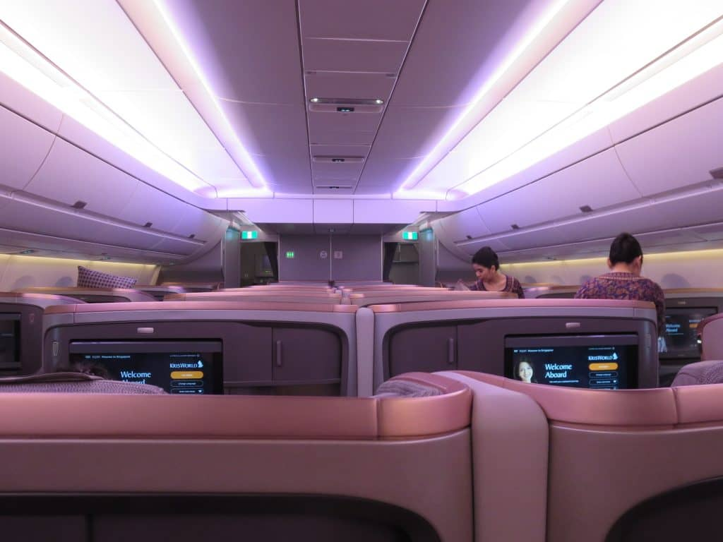 Singapore Airlines Business Class Kabine an Bord des A350