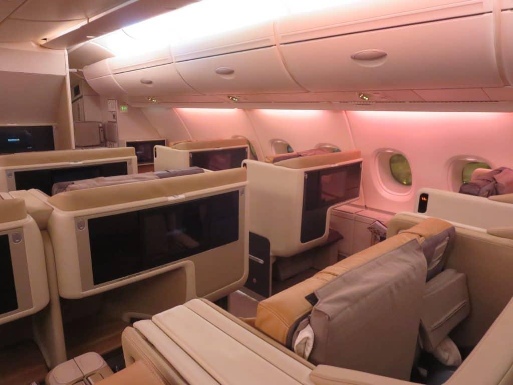 Singapore Airlines Business Class Kabine an Bord des A380