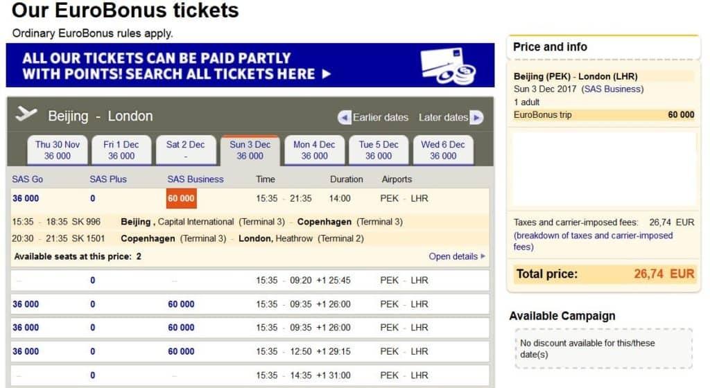 EuroBonus Prämienflug: Mit SAS von Peking nach London