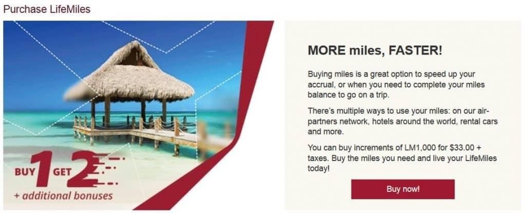 LifeMiles Meilen kaufen Aktion Screenshot