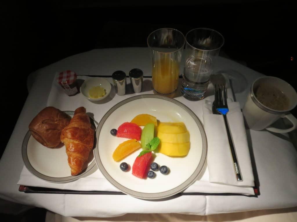 Singapore Airlines First Class Frühstück