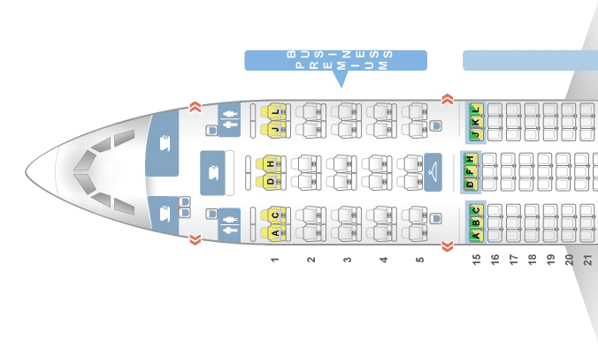 Sitzplan Business Class LATAM A350-900 XWB