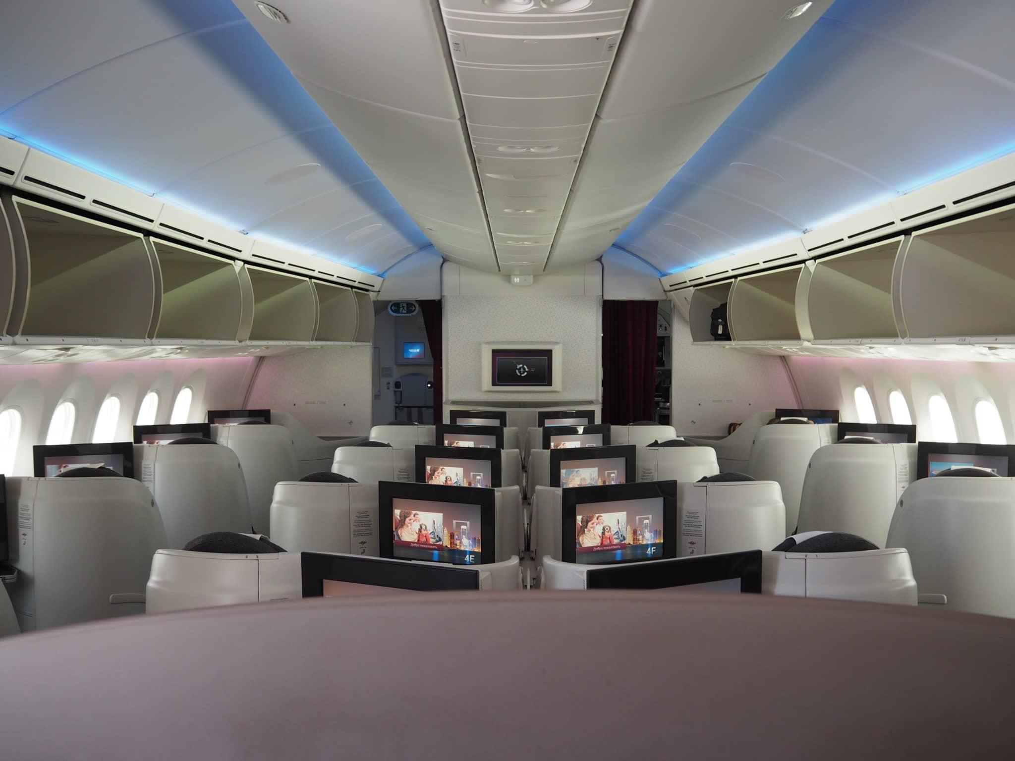 Qatar Airways Business Class Boeing 787-8 Kabine