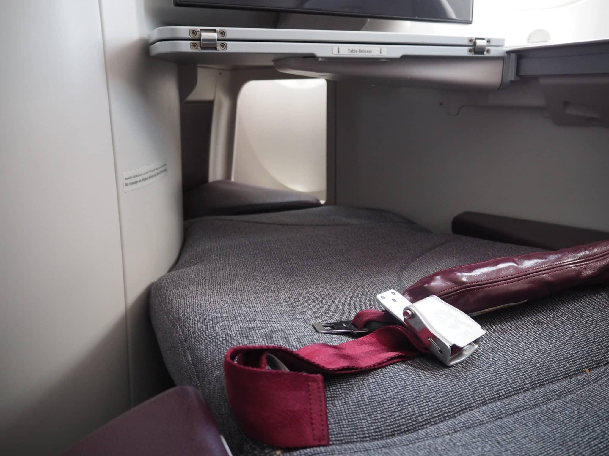 Qatar Airways Business Class Boeing 787-8 Bett Fußraum
