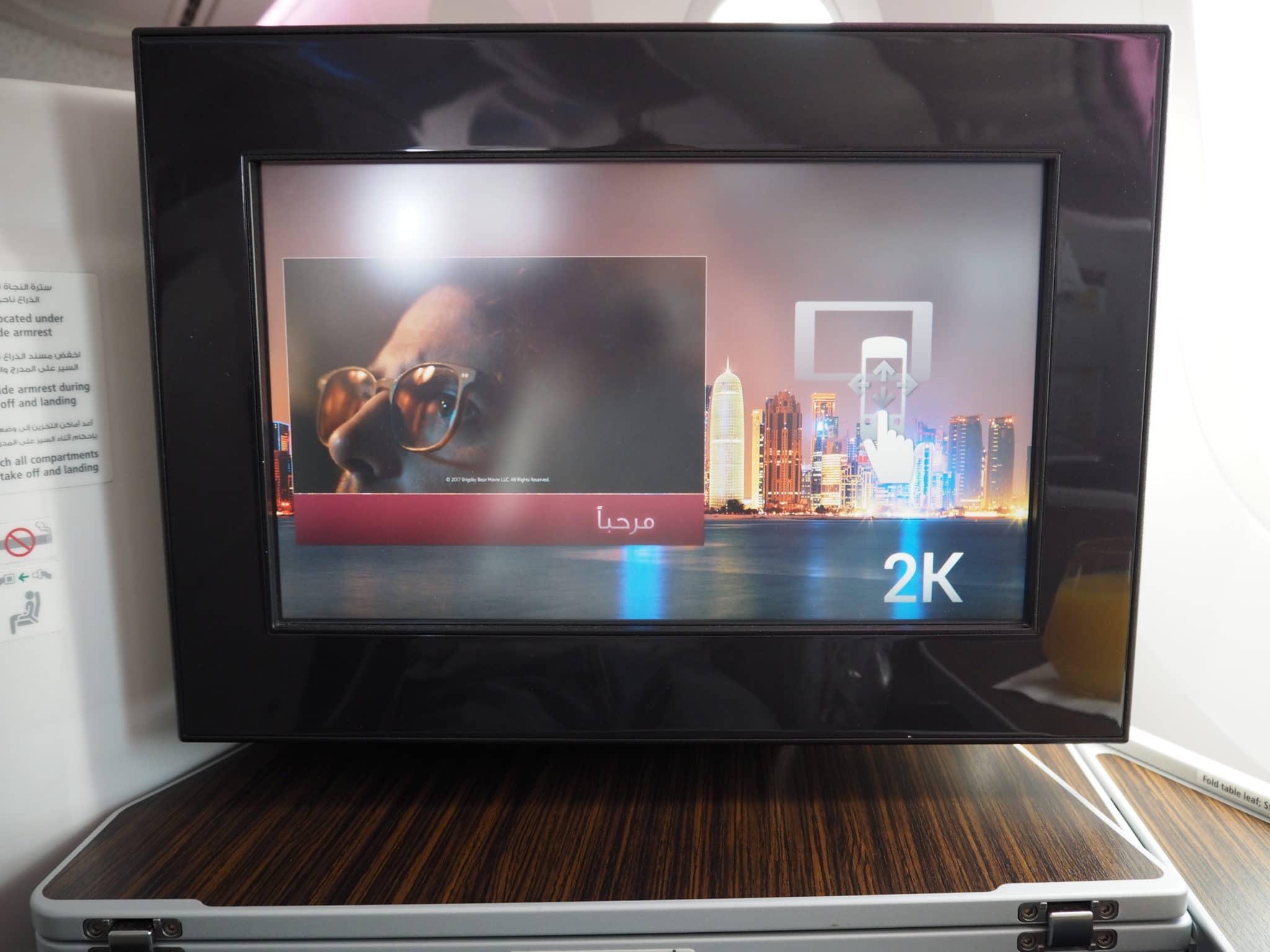 Qatar Airways Business Class Boeing 787-8 Monitor