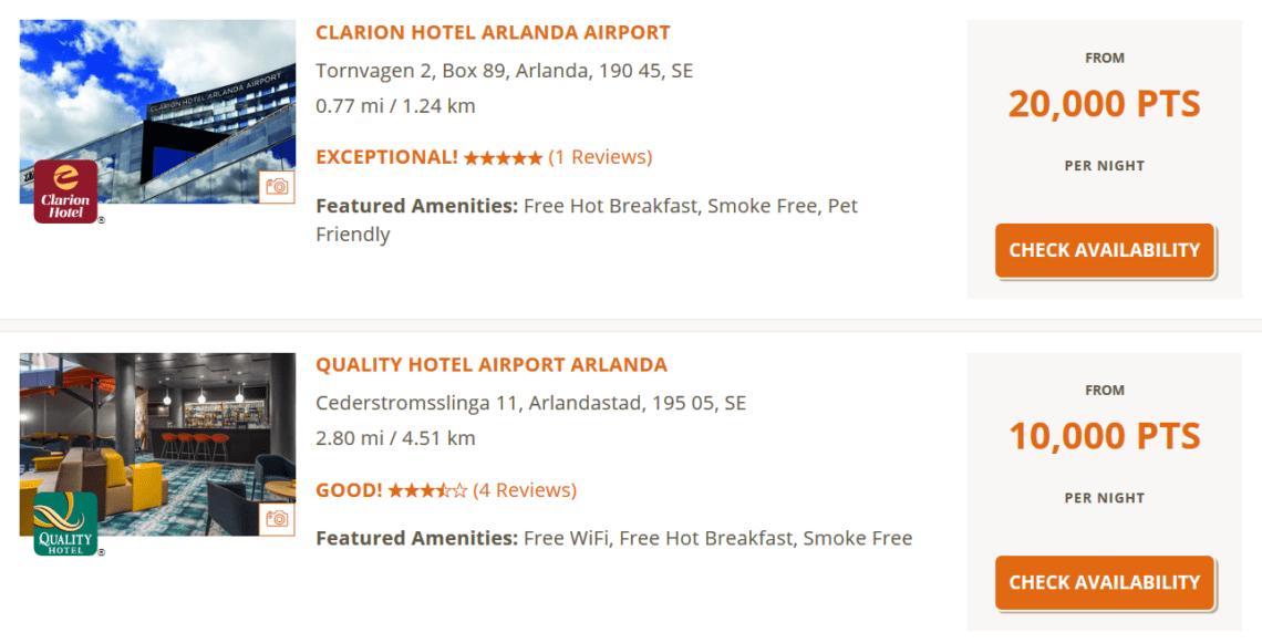 Choice Privileges Punkte Einloesen Arlanda