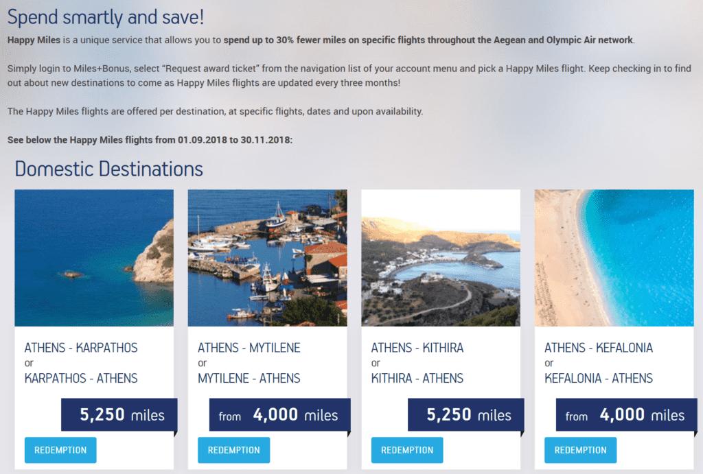 Aegean Miles+Bonus Happy Miles Angebote © Aegean