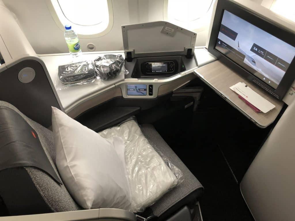 Air Canada Business Class Boeing 787-9 Sitz von oben