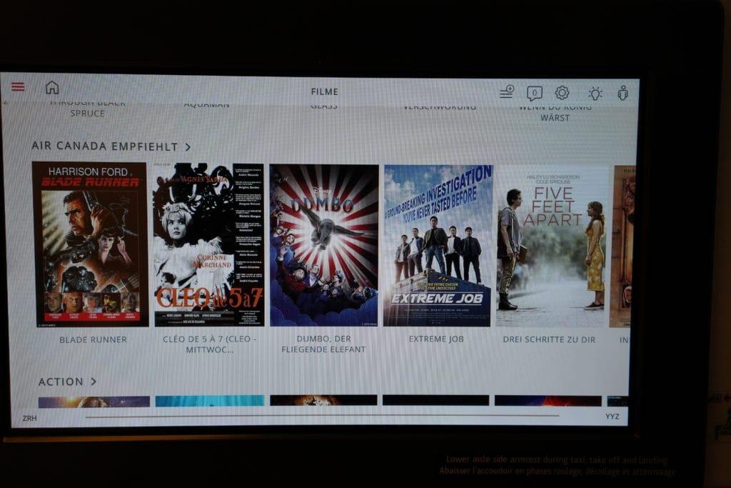 AirCanada Business Class Boeing 777 Auswahl Filme