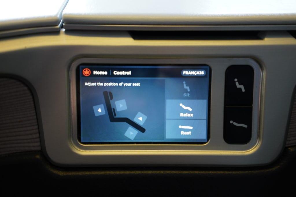 AirCanada Business Class Boeing 777 Einstellung Sitz